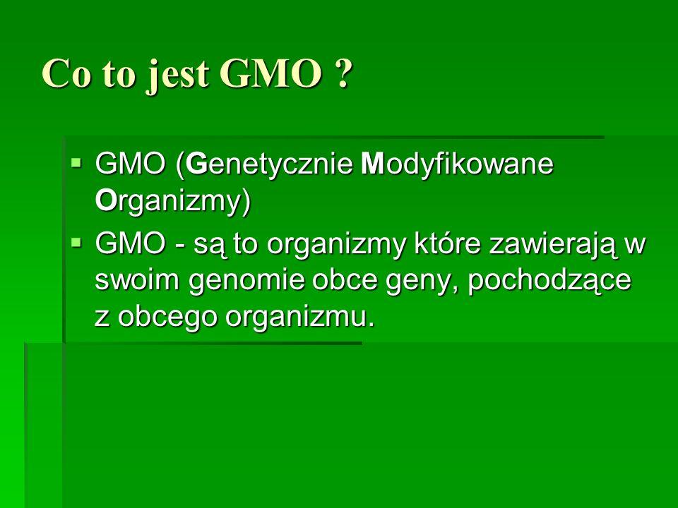 Co to jest GMO GMO (Genetycznie Modyfikowane Organizmy)