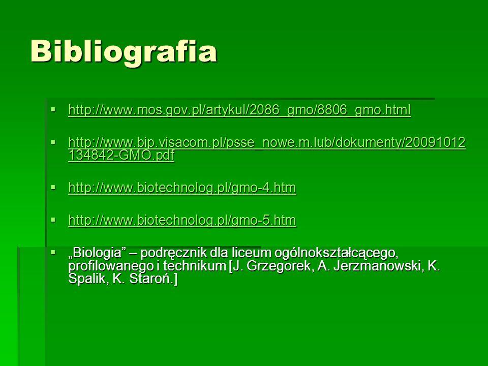Bibliografia http://www.mos.gov.pl/artykul/2086_gmo/8806_gmo.html