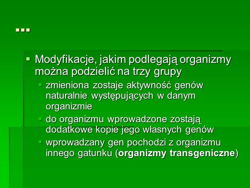 ... Modyfikacje, jakim podlegają organizmy można podzielić na trzy grupy.