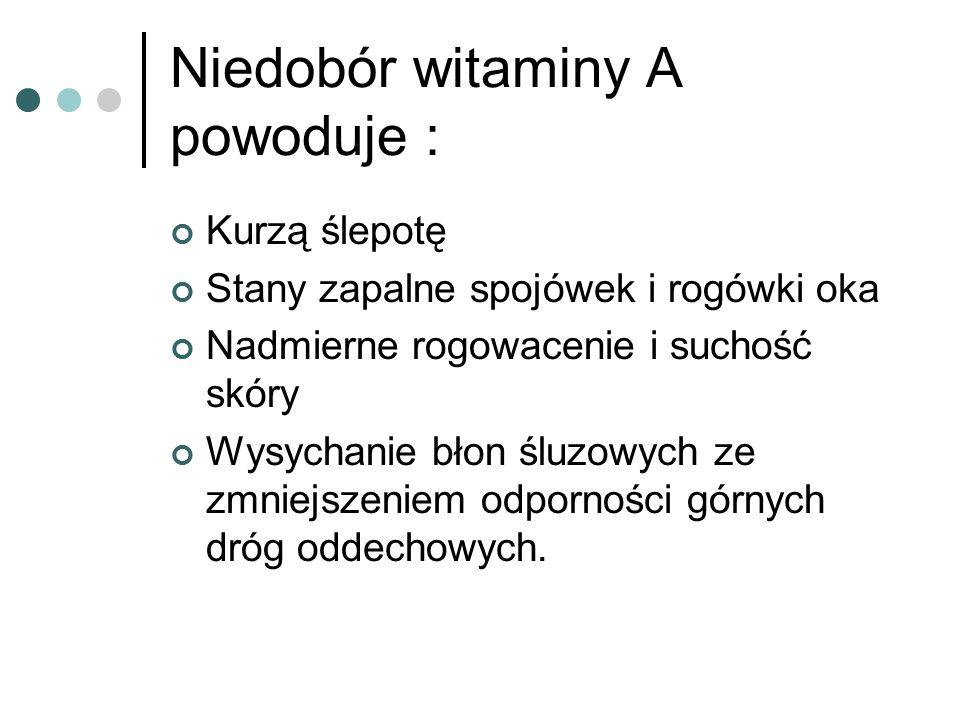 Niedobór witaminy A powoduje :