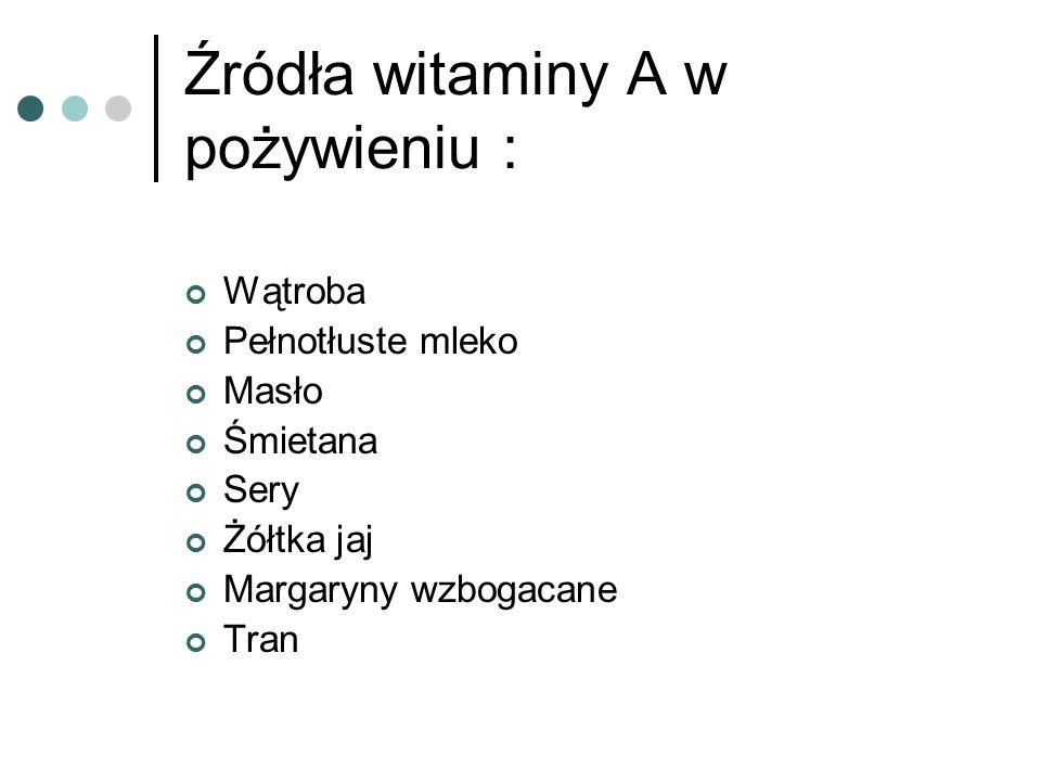 Źródła witaminy A w pożywieniu :
