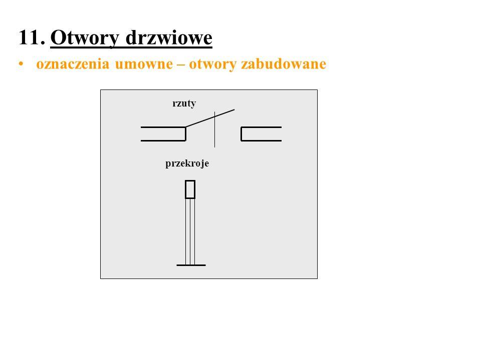 11. Otwory drzwiowe oznaczenia umowne – otwory zabudowane rzuty