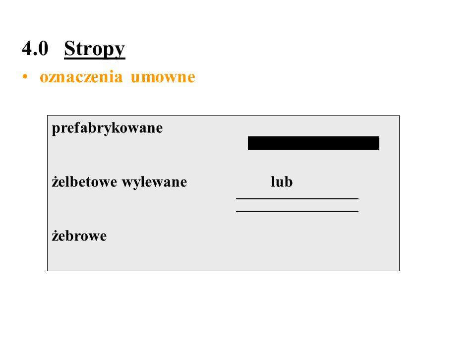 4.0 Stropy oznaczenia umowne prefabrykowane żelbetowe wylewane lub
