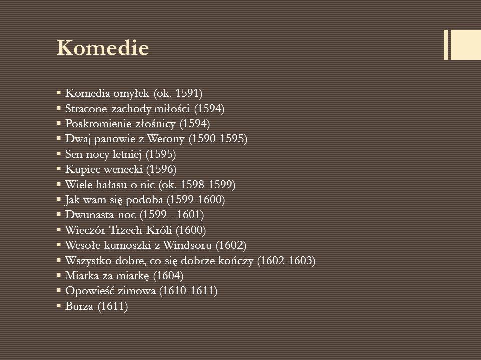 Komedie Komedia omyłek (ok. 1591) Stracone zachody miłości (1594)