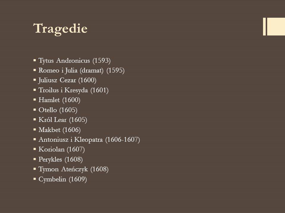 Tragedie Tytus Andronicus (1593) Romeo i Julia (dramat) (1595)