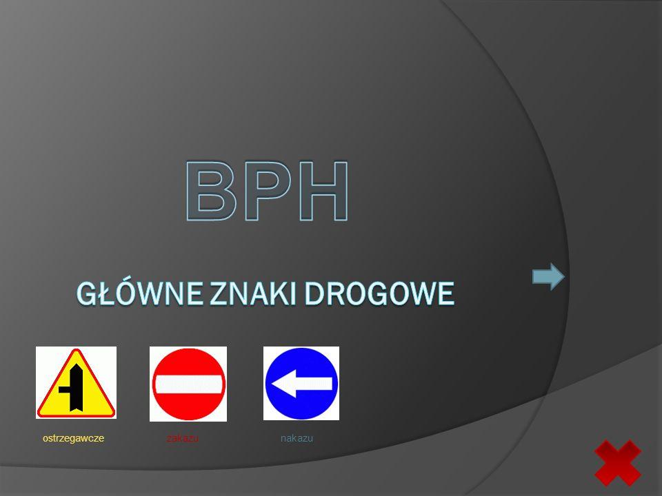 BPH Główne znaki drogowe ostrzegawcze zakazu nakazu