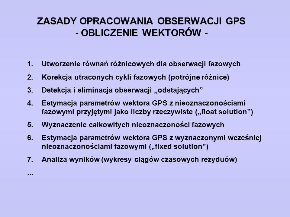 ZASADY OPRACOWANIA OBSERWACJI GPS - OBLICZENIE WEKTORÓW -