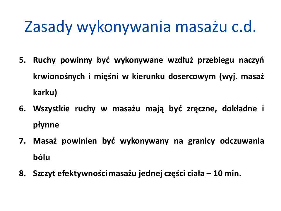 Zasady wykonywania masażu c.d.
