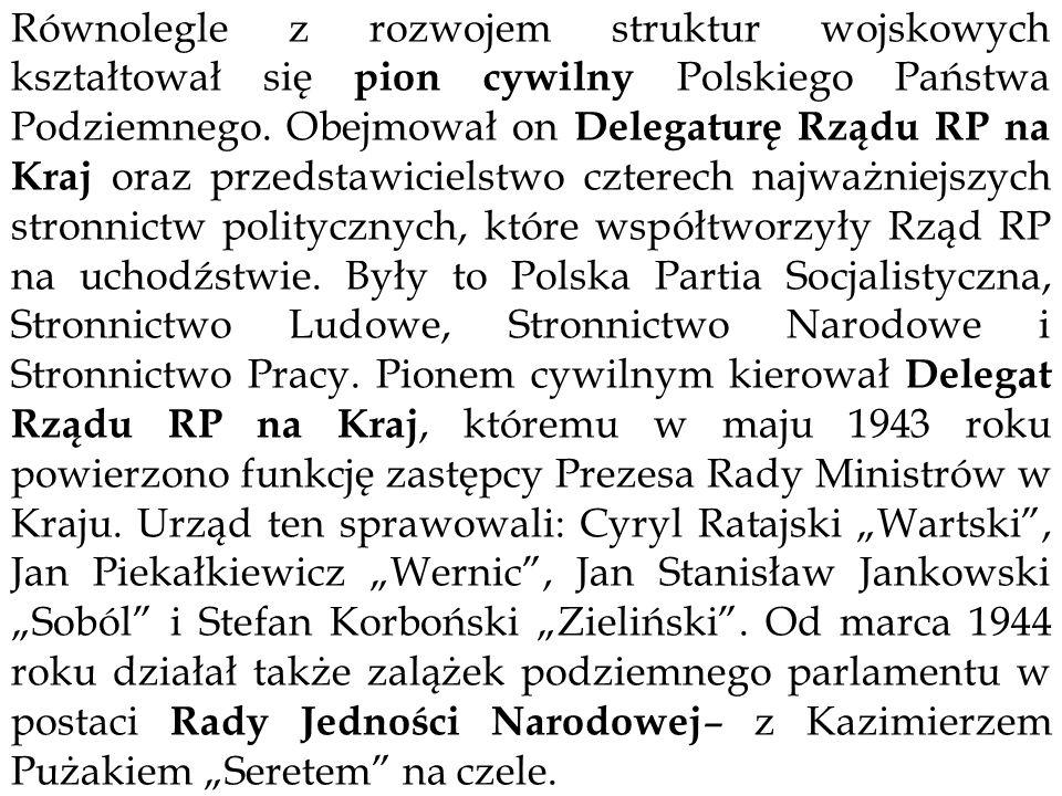 Równolegle z rozwojem struktur wojskowych kształtował się pion cywilny Polskiego Państwa Podziemnego.