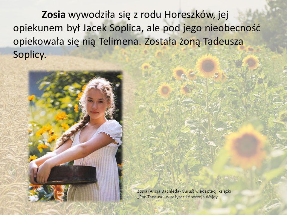 Zosia wywodziła się z rodu Horeszków, jej opiekunem był Jacek Soplica, ale pod jego nieobecność opiekowała się nią Telimena. Została żoną Tadeusza Soplicy.