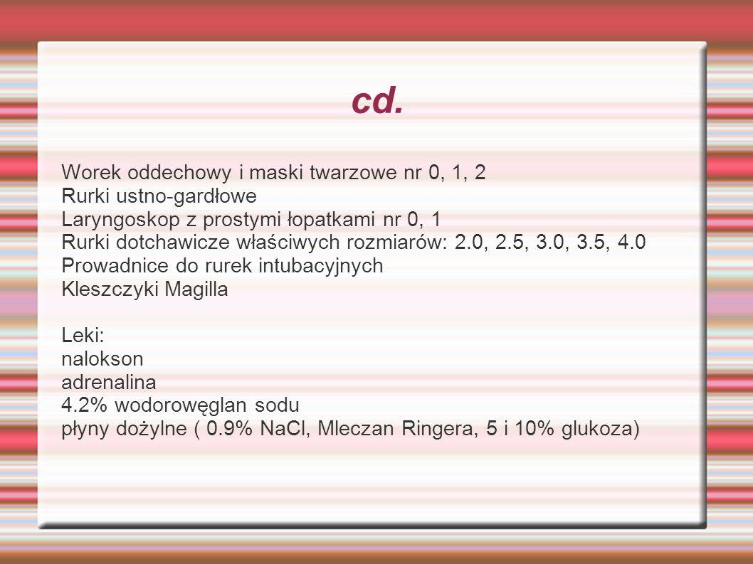 cd. Worek oddechowy i maski twarzowe nr 0, 1, 2 Rurki ustno-gardłowe