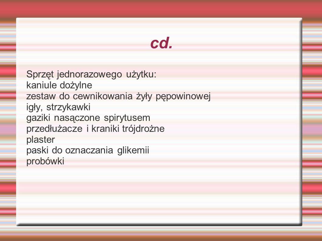 cd. Sprzęt jednorazowego użytku: kaniule dożylne