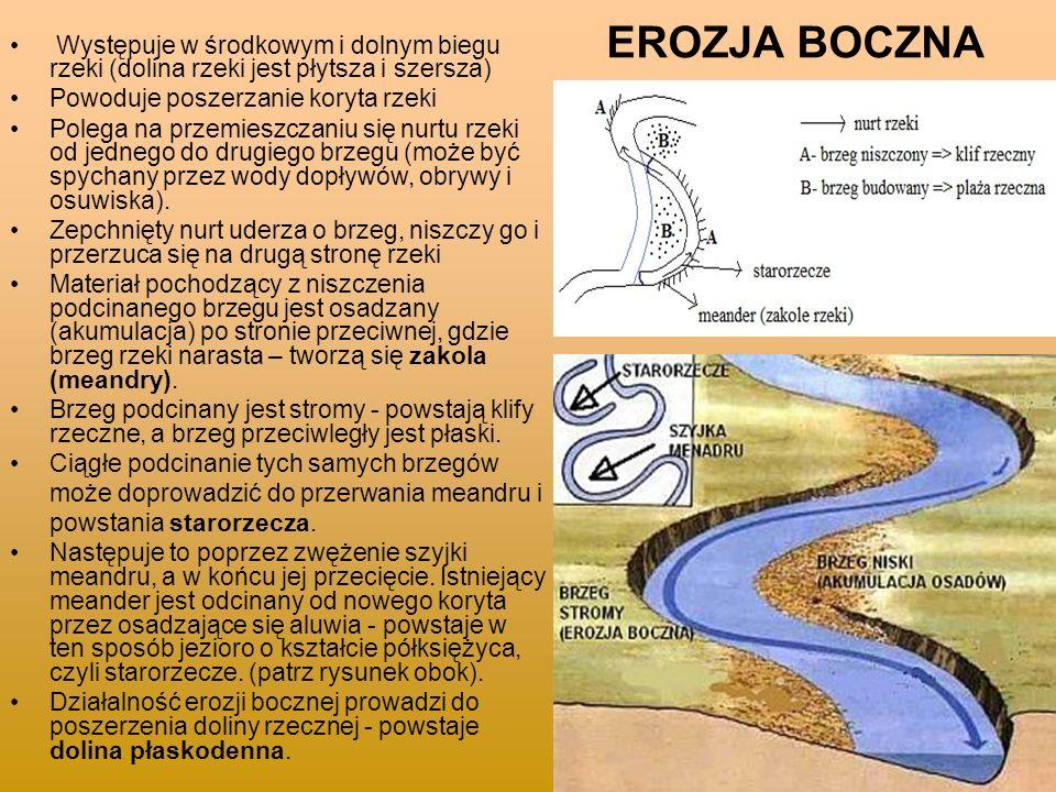 EROZJA BOCZNA Występuje w środkowym i dolnym biegu rzeki (dolina rzeki jest płytsza i szersza) Powoduje poszerzanie koryta rzeki.