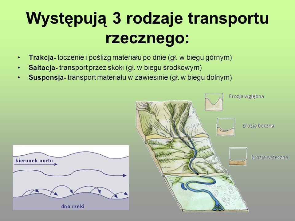 Występują 3 rodzaje transportu rzecznego: