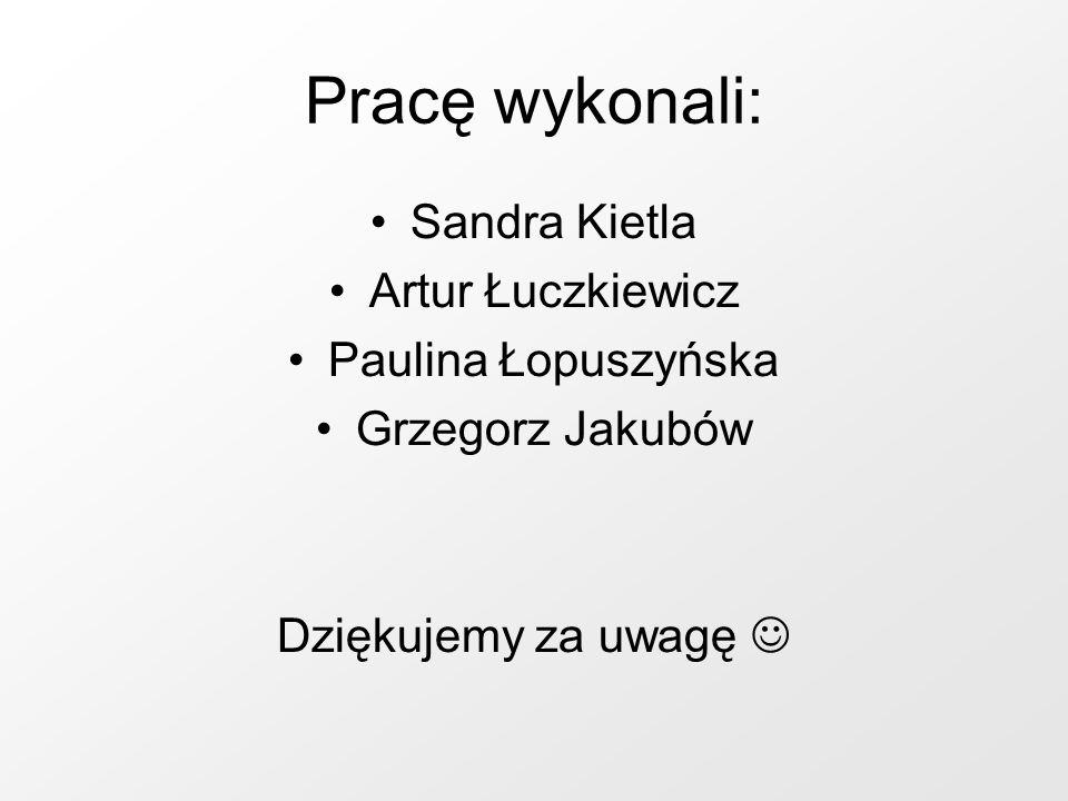 Pracę wykonali: Sandra Kietla Artur Łuczkiewicz Paulina Łopuszyńska