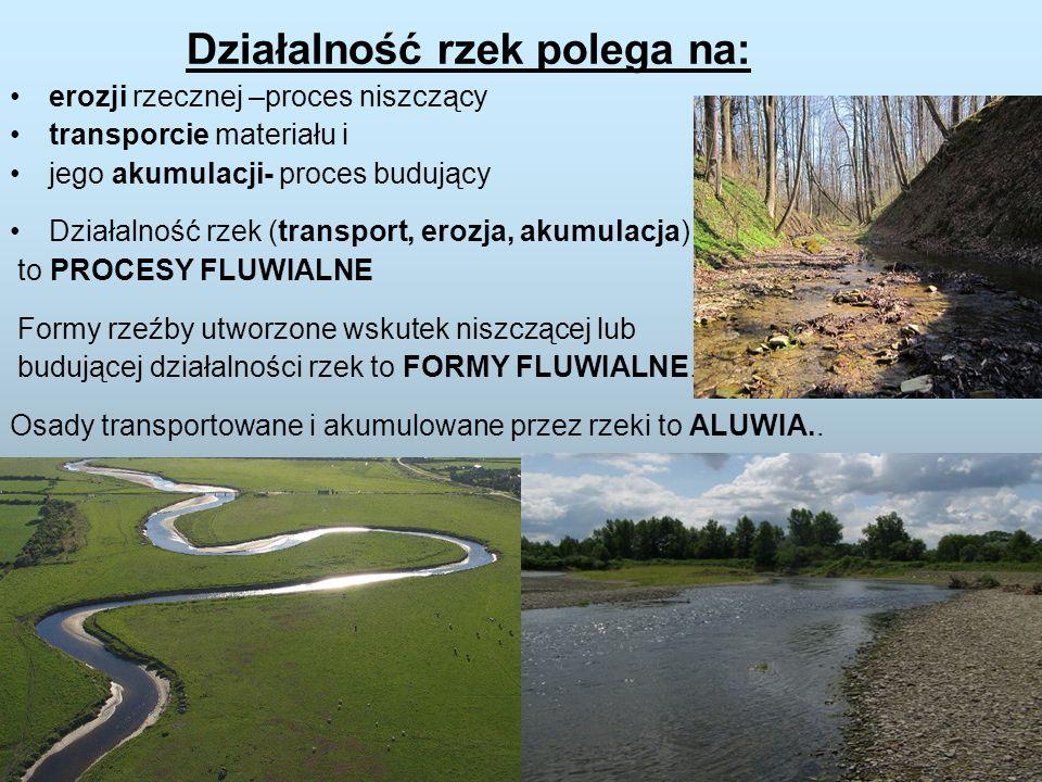 Działalność rzek polega na: