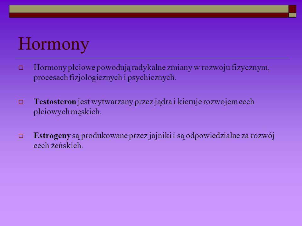 Hormony Hormony płciowe powodują radykalne zmiany w rozwoju fizycznym, procesach fizjologicznych i psychicznych.