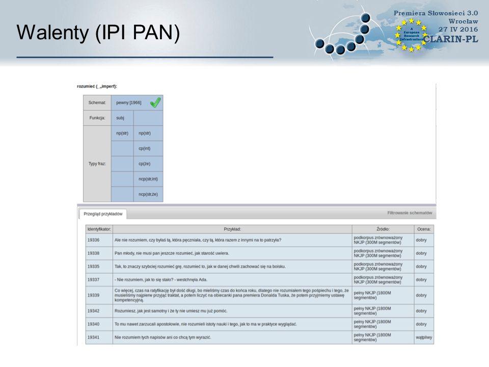 Walenty (IPI PAN) CLARIN-PL //do usunięcia z wersji konferencyjnej