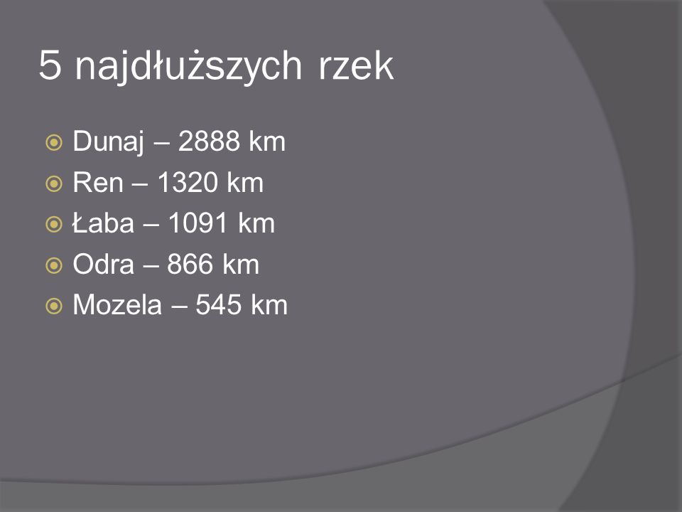 5 najdłuższych rzek Dunaj – 2888 km Ren – 1320 km Łaba – 1091 km