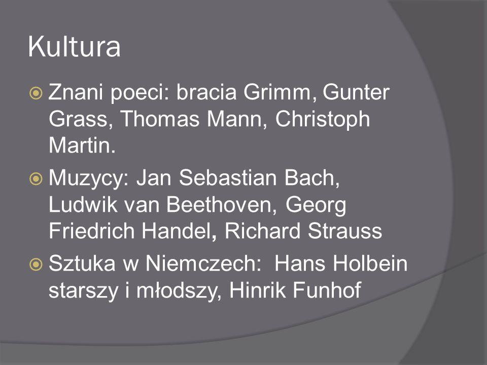Kultura Znani poeci: bracia Grimm, Gunter Grass, Thomas Mann, Christoph Martin.