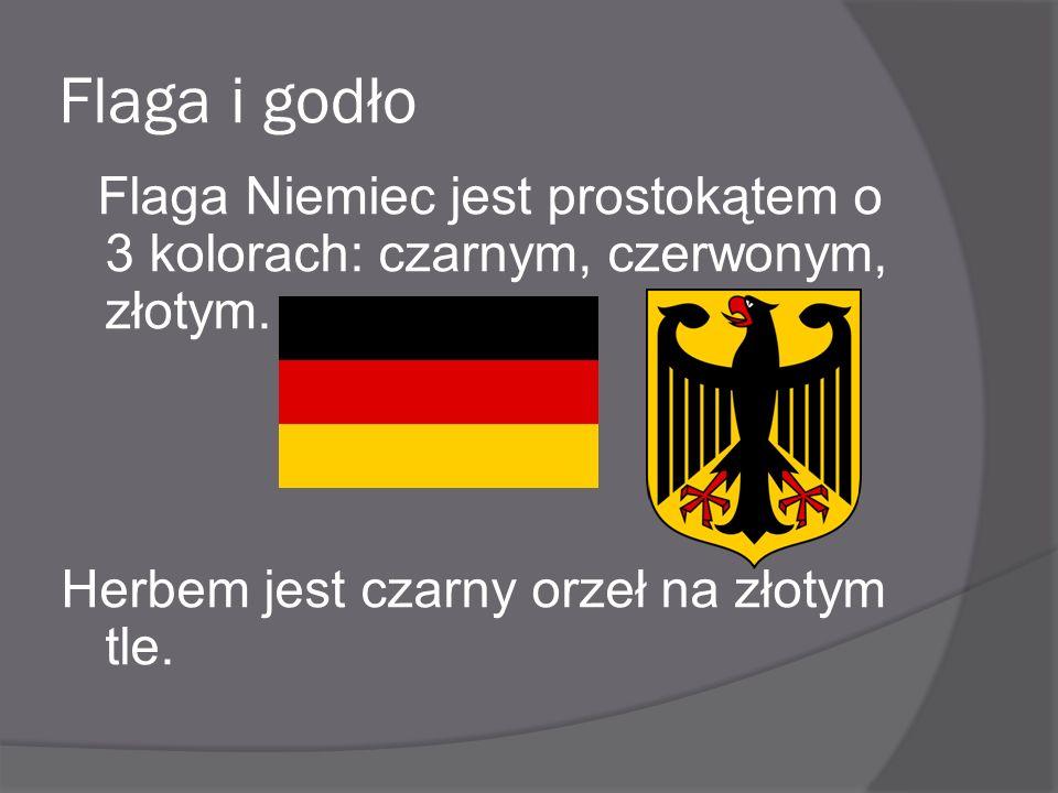 Flaga i godło Herbem jest czarny orzeł na złotym tle.