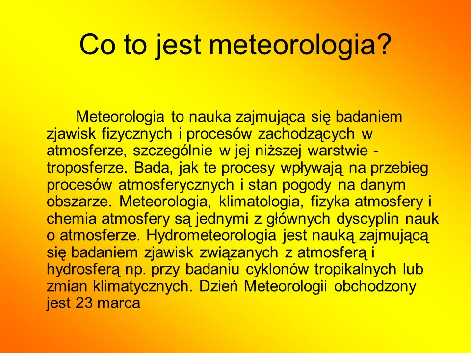 Co to jest meteorologia