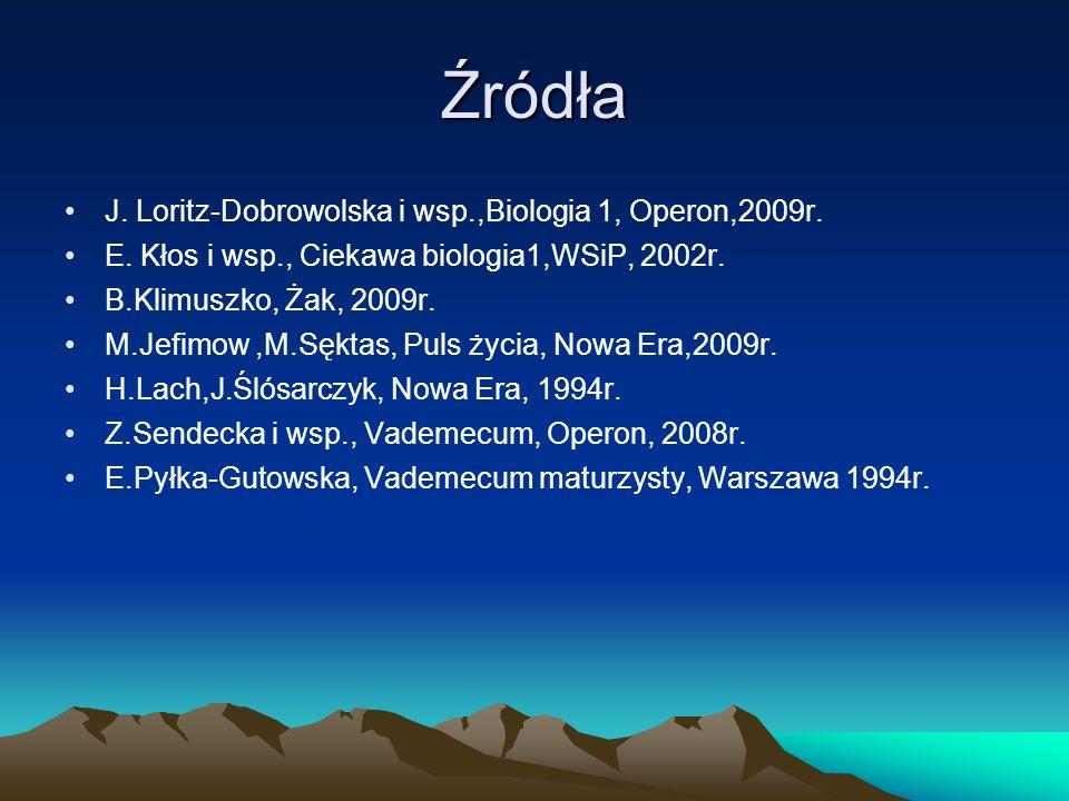 Źródła J. Loritz-Dobrowolska i wsp.,Biologia 1, Operon,2009r.