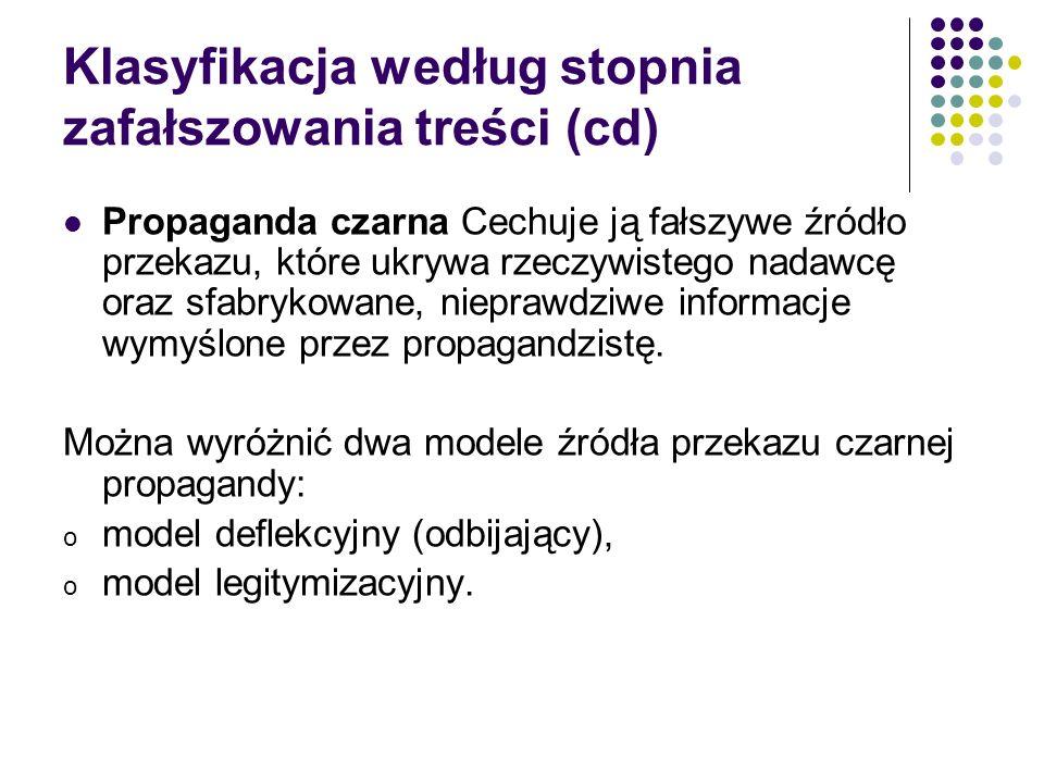Klasyfikacja według stopnia zafałszowania treści (cd)