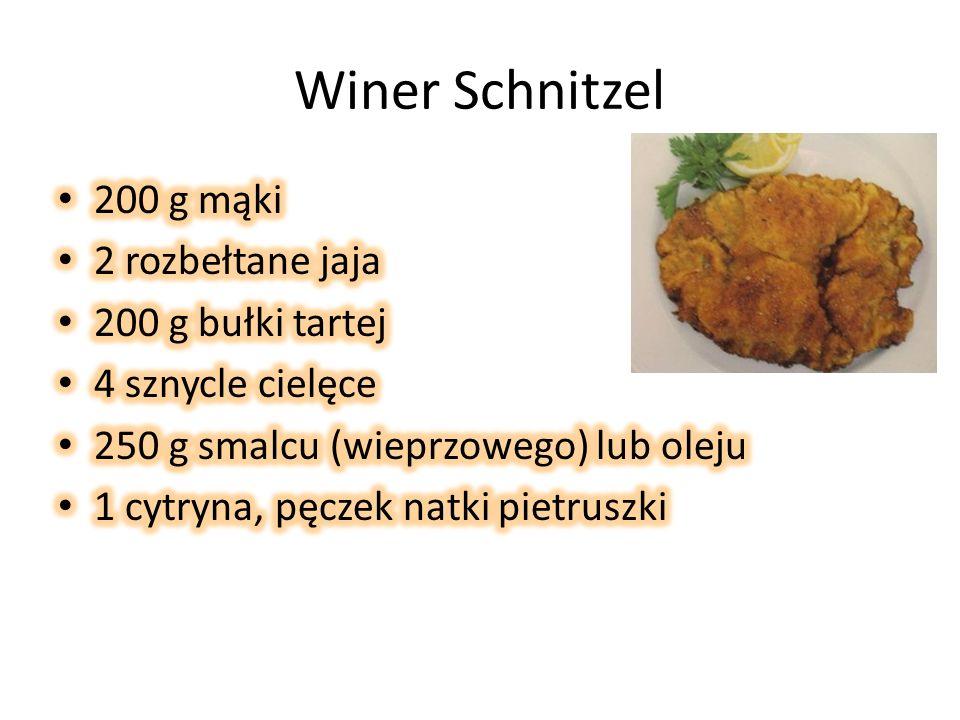 Winer Schnitzel 200 g mąki 2 rozbełtane jaja 200 g bułki tartej