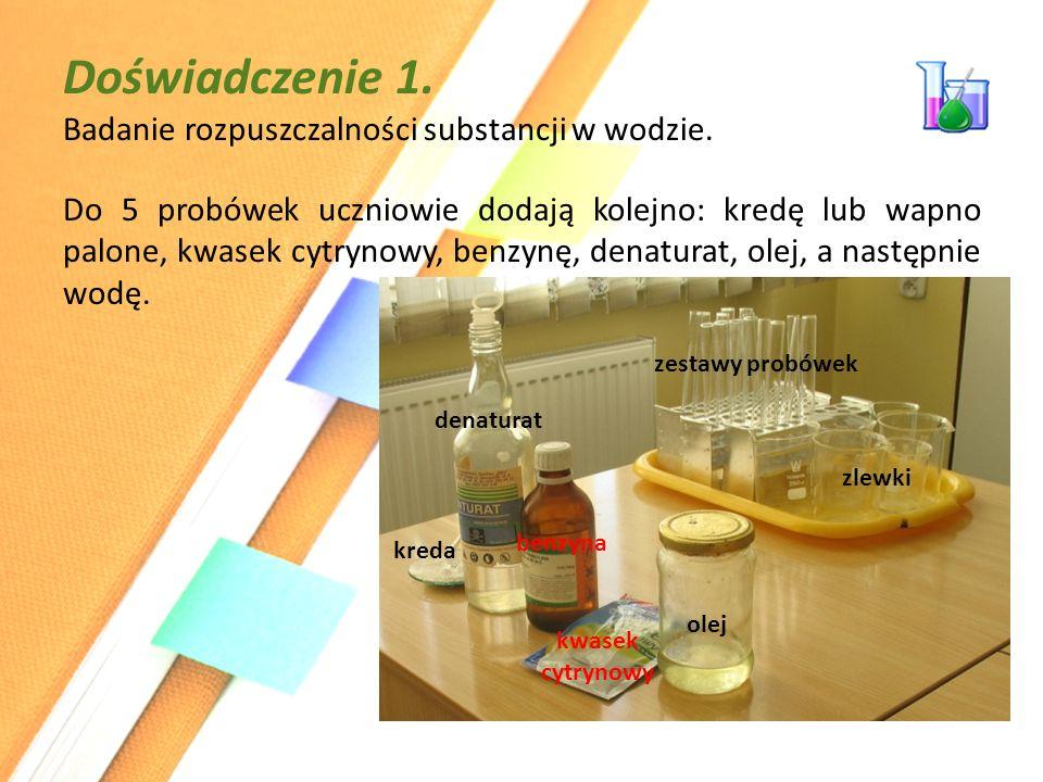 Doświadczenie 1. Badanie rozpuszczalności substancji w wodzie.