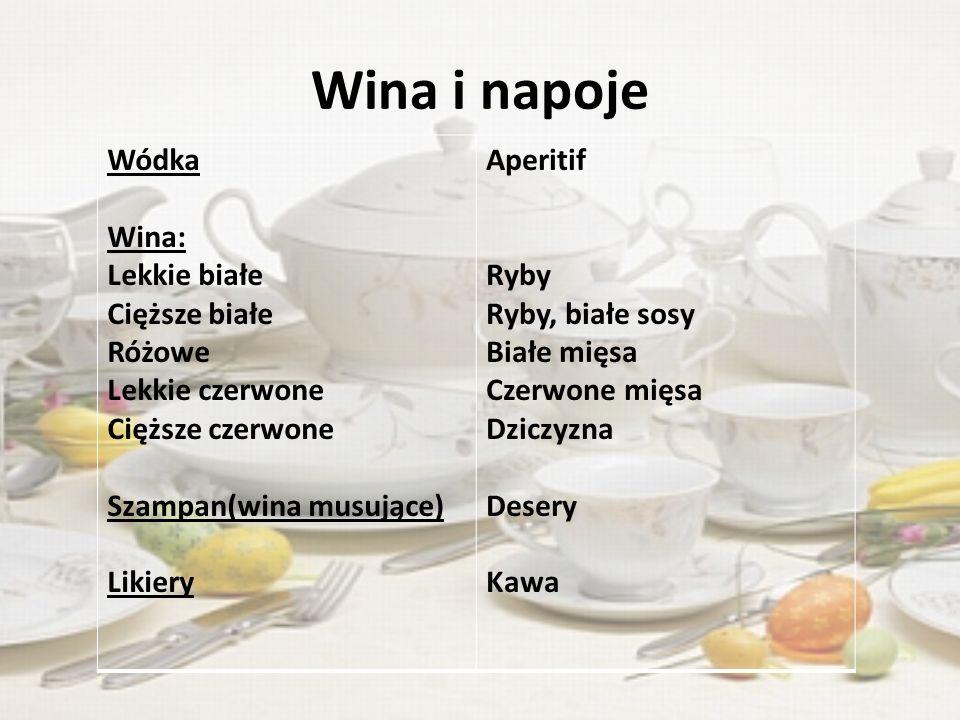 Wina i napoje Wódka Wina: Lekkie białe Cięższe białe Różowe
