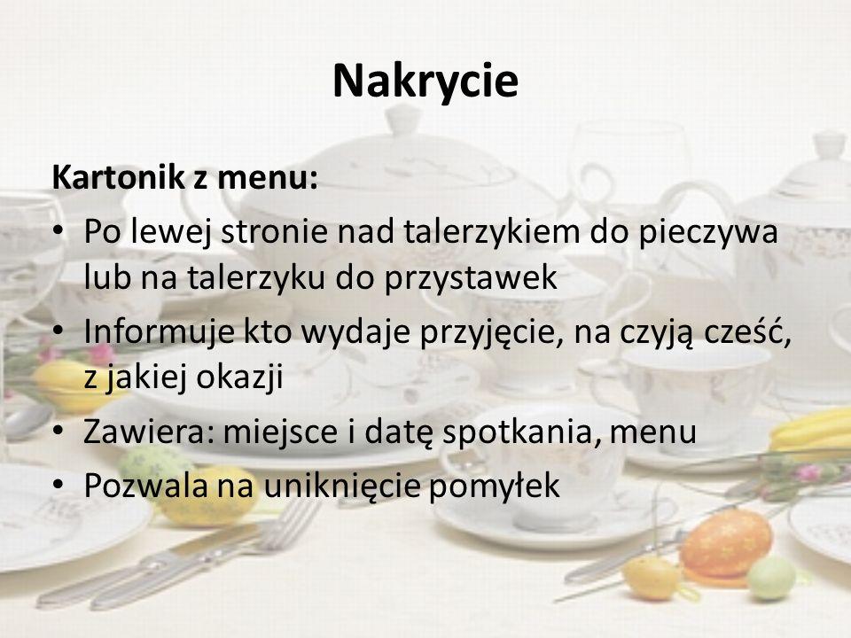 Nakrycie Kartonik z menu: