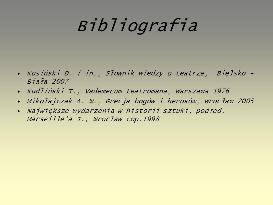 Bibliografia Kosiński D. i in., Słownik wiedzy o teatrze, Bielsko - Biała 2007. Kudliński T., Vademecum teatromana, Warszawa 1976.