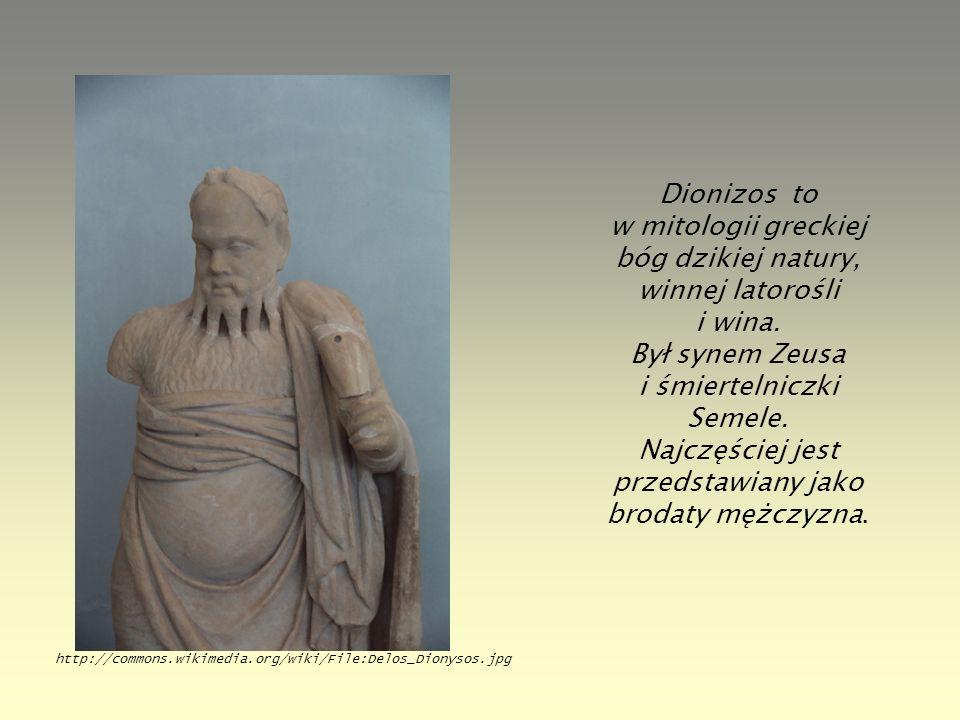 Dionizos to w mitologii greckiej bóg dzikiej natury, winnej latorośli i wina. Był synem Zeusa i śmiertelniczki Semele. Najczęściej jest przedstawiany jako brodaty mężczyzna.