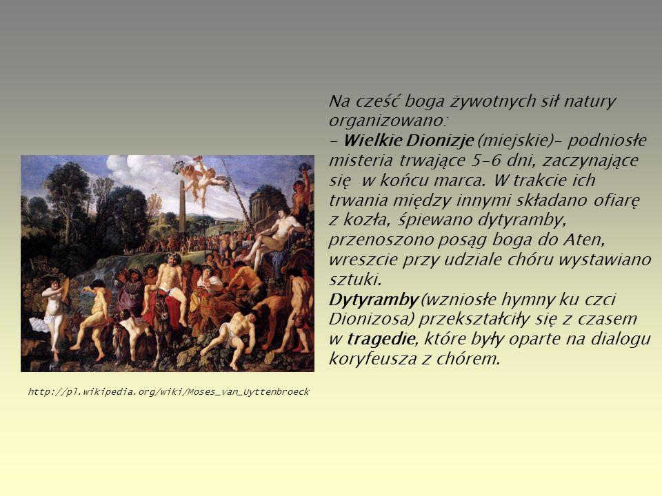 Na cześć boga żywotnych sił natury organizowano: - Wielkie Dionizje (miejskie)– podniosłe misteria trwające 5-6 dni, zaczynające się w końcu marca. W trakcie ich trwania między innymi składano ofiarę z kozła, śpiewano dytyramby, przenoszono posąg boga do Aten, wreszcie przy udziale chóru wystawiano sztuki. Dytyramby (wzniosłe hymny ku czci Dionizosa) przekształciły się z czasem w tragedie, które były oparte na dialogu koryfeusza z chórem.