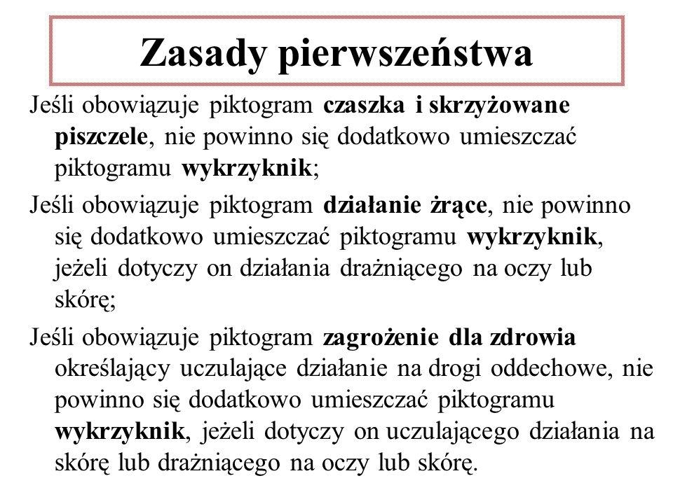 Zasady pierwszeństwa Jeśli obowiązuje piktogram czaszka i skrzyżowane piszczele, nie powinno się dodatkowo umieszczać piktogramu wykrzyknik;