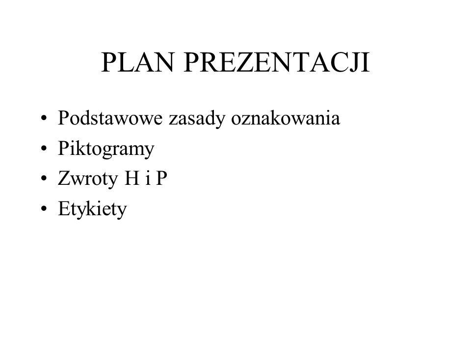 PLAN PREZENTACJI Podstawowe zasady oznakowania Piktogramy Zwroty H i P