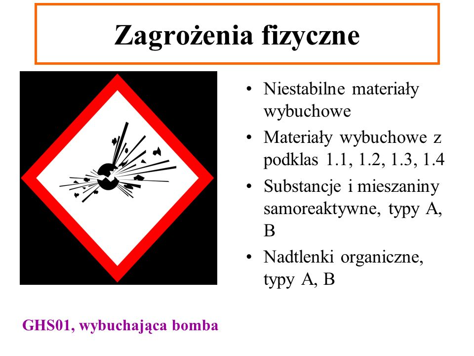 Zagrożenia fizyczne Niestabilne materiały wybuchowe