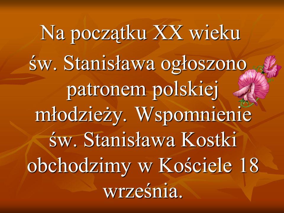 Na początku XX wieku św. Stanisława ogłoszono patronem polskiej młodzieży.