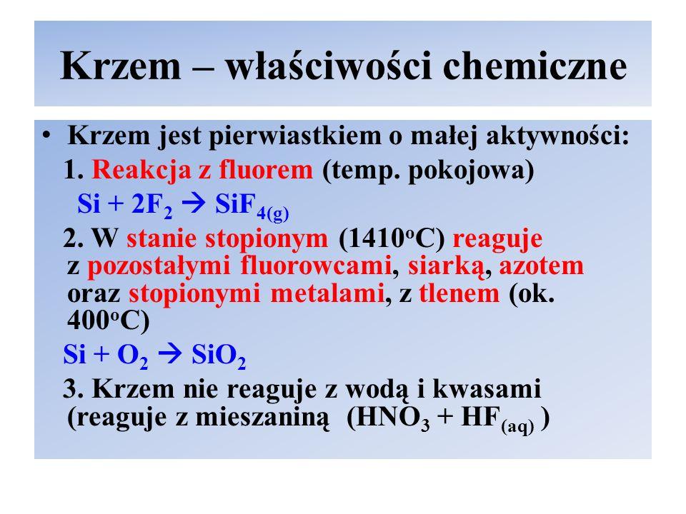 Krzem – właściwości chemiczne