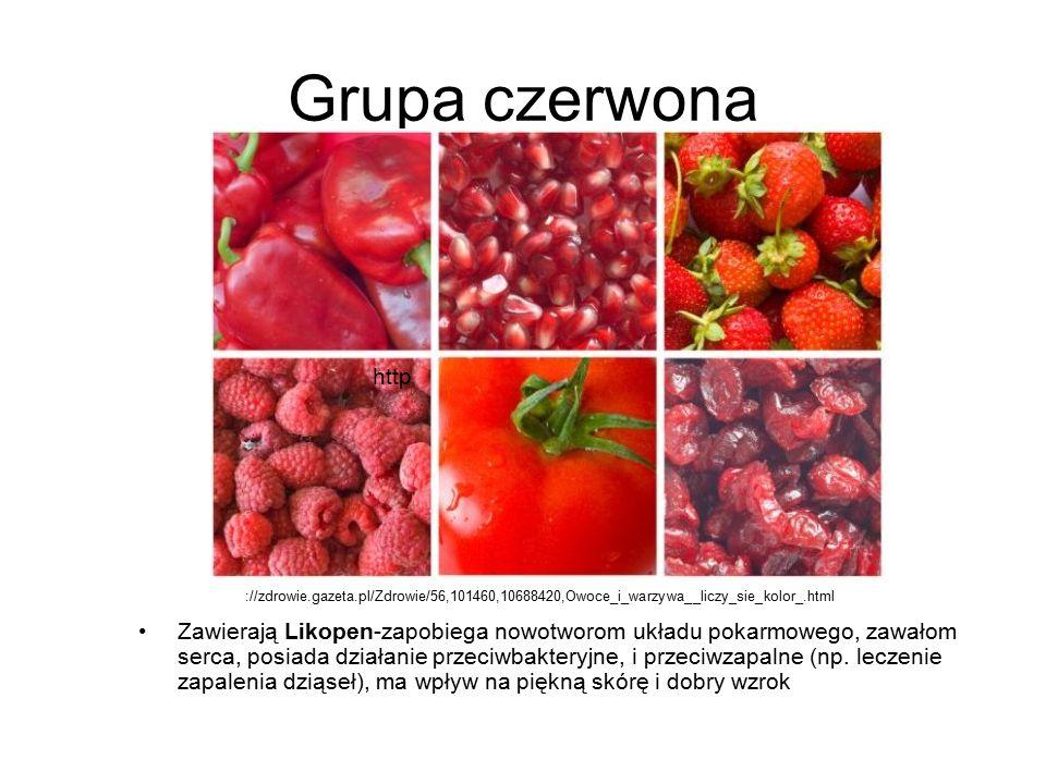 Grupa czerwona http. ://zdrowie.gazeta.pl/Zdrowie/56,101460,10688420,Owoce_i_warzywa__liczy_sie_kolor_.html.