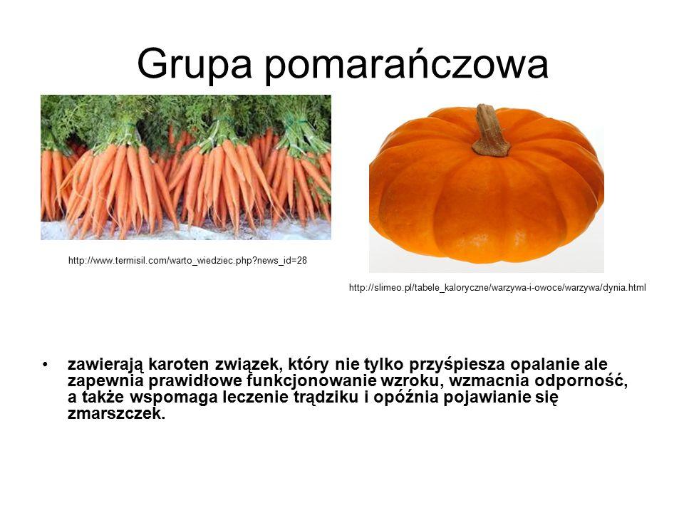 Grupa pomarańczowa http://www.termisil.com/warto_wiedziec.php news_id=28. http://slimeo.pl/tabele_kaloryczne/warzywa-i-owoce/warzywa/dynia.html.