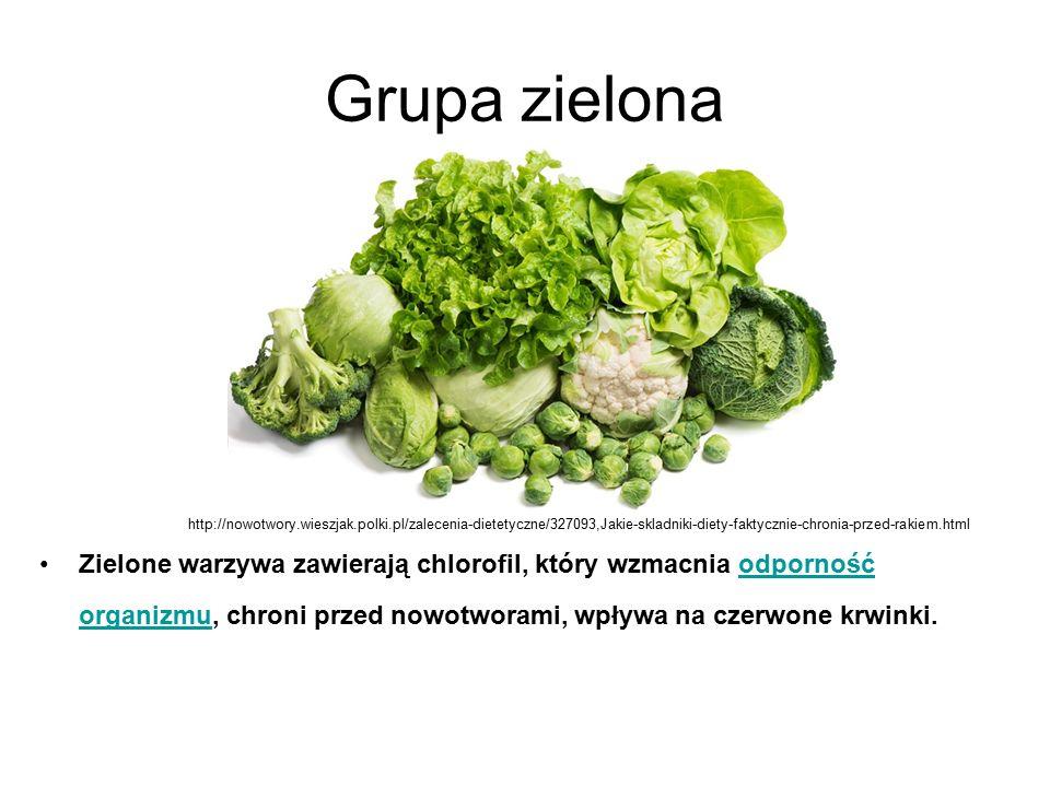 Grupa zielona http://nowotwory.wieszjak.polki.pl/zalecenia-dietetyczne/327093,Jakie-skladniki-diety-faktycznie-chronia-przed-rakiem.html.