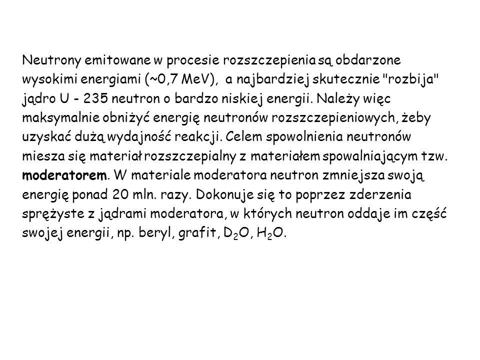 Neutrony emitowane w procesie rozszczepienia są obdarzone wysokimi energiami (~0,7 MeV), a najbardziej skutecznie rozbija jądro U - 235 neutron o bardzo niskiej energii.