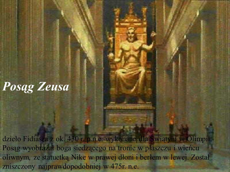 Posąg Zeusa dzieło Fidiasza z ok. 430 r. p.n.e. wykonane dla Świątyni w Olimpii.