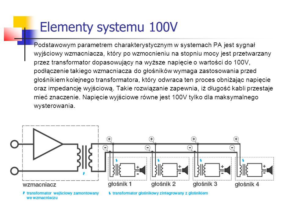 Elementy systemu 100V Podstawowym parametrem charakterystycznym w systemach PA jest sygnał.