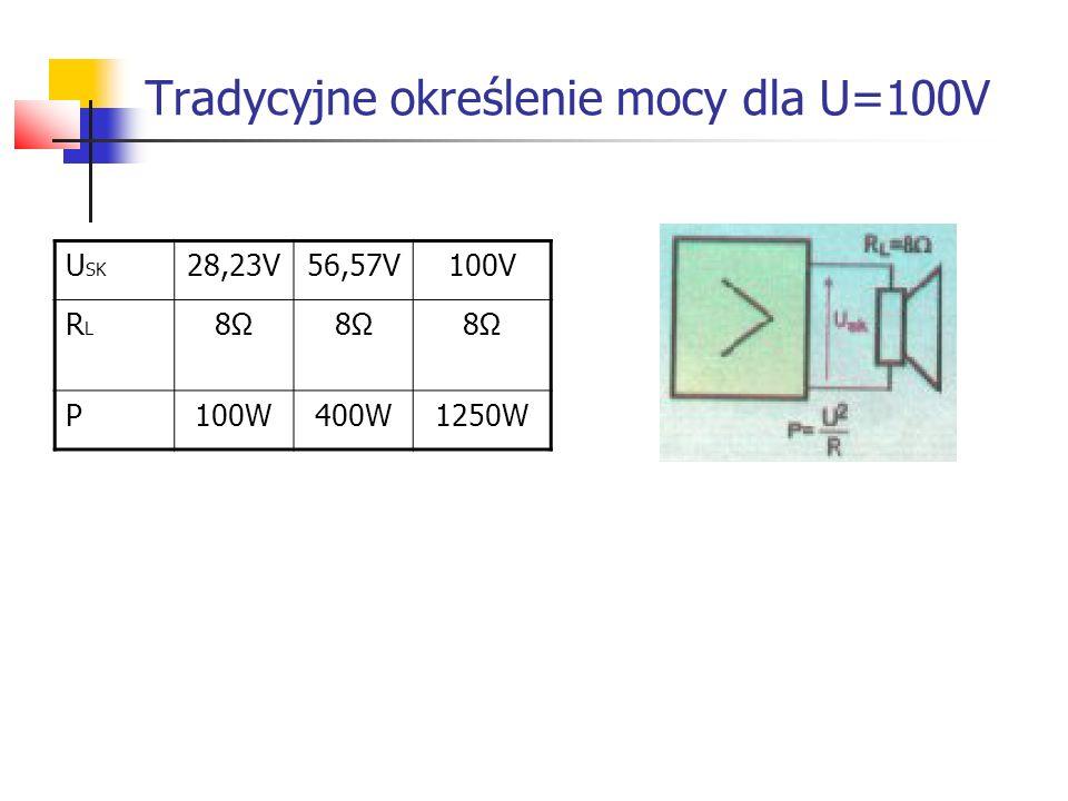 Tradycyjne określenie mocy dla U=100V
