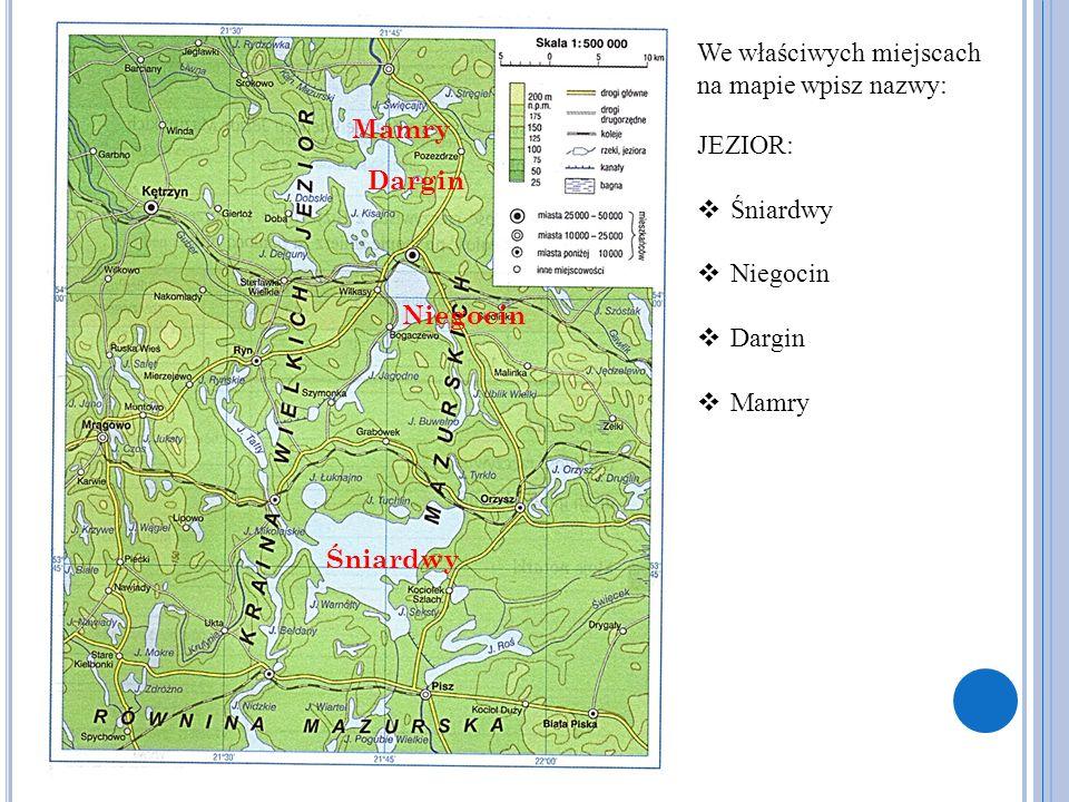 We właściwych miejscach na mapie wpisz nazwy: