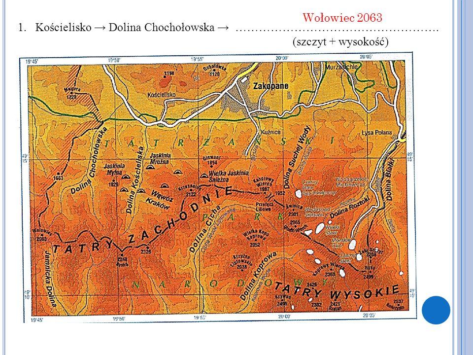 Wołowiec 2063 Kościelisko → Dolina Chochołowska → ……………………………………………. (szczyt + wysokość)