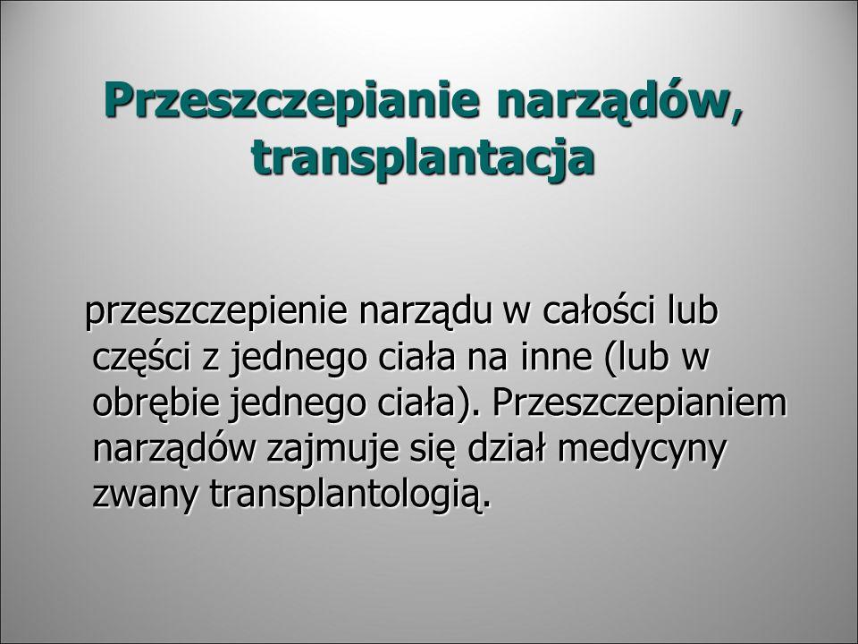 Przeszczepianie narządów, transplantacja